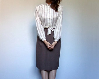 70s Secretary Dress with Pockets Long Sleeve Striped Cream Brown Simple Button Up Office Dress - Extra Small to Small XS S
