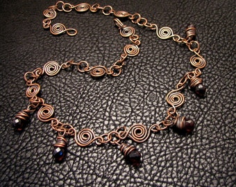 Handmade Oxidized Copper Wire Purple Cubic Zirconia Necklace