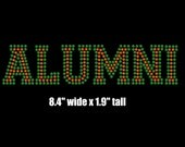 Reserved - FOUR (4) Alumni iron on rhinestone transfers in green/orange