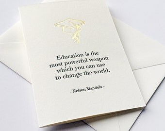 Letterpress Graduation Congratulations card - Change the World