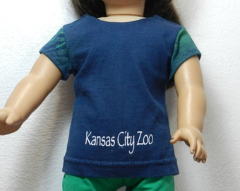 BK Navy Kansas City Zoo Tee with Partial Foliage Print Sleeves - 18 Inch Doll Clothes fits American Girl