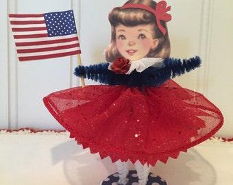Vintage Style Bump Chenille Patriotic Figure