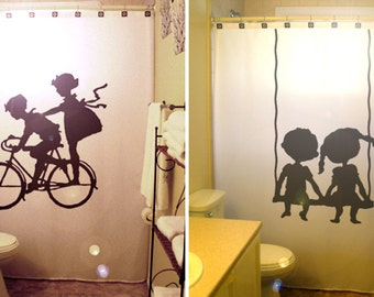 Brother Sister Kids Shower Curtain Boy Girl Shared Bathroom Decor Swing Bath Child Friends Siblings Unique Custom Shower Curtain
