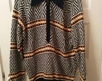 Men's knit jumper 1970s l xl grunge boho seventies ski hippie stoner winter Donegal Estate acrylic