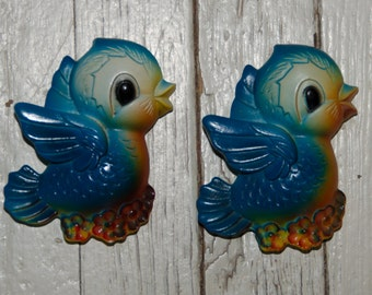 Vintage Pair of Chalkware Blue Bird Wall Plaques
