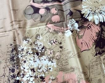 Beautiful Vintage Sateen Fabric, One Yard, R