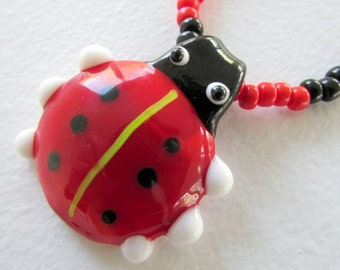 Little girls ladybug necklace kids jewelry toddler necklace seed bead fun jewelry stretch necklace
