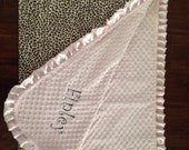 Baby blanket quilt Brown ivory leopard pink minky dot satin ruffle personalized