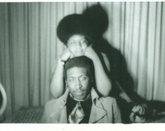 1960s African American Couple Black Man Woman Afro Hair 60s Vintage Black and White Photo Photograph
