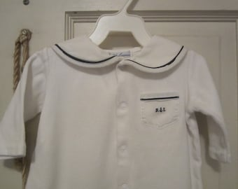 Vintage RALPH LAUREN SAILOR Boy 3M Infant Baby Romper,Longalls,  White with Navy Trim