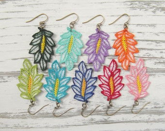 Lace Feather Leaf Earrings / Bright Summer Earrings / Hand Painted Custom Color Eco Friendly Lightweight Statement Earrings / Custom Color