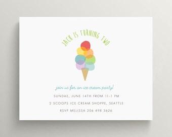 ice cream cone birthday invitation set // baby shower // ice cream party // ice cream social // ice cream shoppe // rainbow // note card