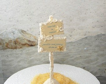 Personalized Beach Sign Custom Colors And Wording Artisan Handmade to order Miniature For Destination Wedding Cakes And Decor