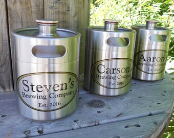Personalized Mini-Keg, Beer Groomsmen Gift - 64 oz Stainless Steel Mini-Keg, Mini Beer Keg, Refillable Beer Keg - Custom Gift for Beer Geek