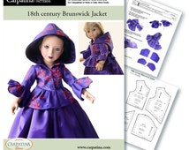 """Outlander Costumes Brunswick Jacket Pattern as Download PDF, Comes in 2 sizes: for 18"""" American Girl and slim Carpatina or Kidz n Cats dolls"""