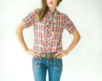 50% OFF SALE... Vintage 70s PAPER Thin Rainbow Plaid Tuxedo Blouse / Preppy Oxford Button Down Shirt / Short Sleeve