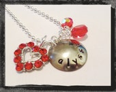 Valentine Necklace Personalized Handstamped Custom  HEART Jewelry Valentines Day Necklace #V9