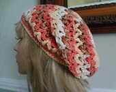 Custom Order Colorful Cotton Open Weave Slouch, Tam Hat, Snood, Beret.  Great Summer Beach Hat.  Teens, Men or Women can Wear This.