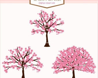 ON SALE tree Digital clipart, Pink Sakura Three tree