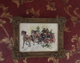Harold Breul (1889-1965) watercolor horse and carriage winter scene