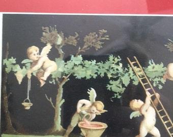 Italian cherub putti print with Paris maker label Hautecoeur Freres