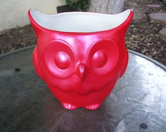 Stoutly Wise Owl Candy Dish/Vase/Planter Metallic Red