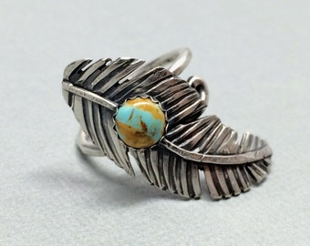 Turquoise Feather Ring, Sterling Silver and Turquoise, Bohemian Jewelry - Adjustable Ring - Bypass ring