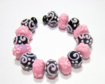 17 lampwork beads handmade glass bead strand black pink  beadwork supplies bead set