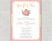 Tea for Two Birthday Invitation, Tea Party Invitation Set, Pink and Gold Tea Party, Thank You Notes, Tea Pot, Blush and Gold