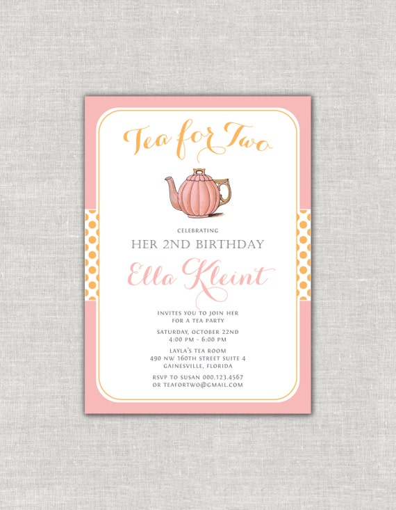 Tea for two birthday invitation tea party invitation set pink and il570xn stopboris Image collections