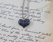 Black Glitter Heart Necklace