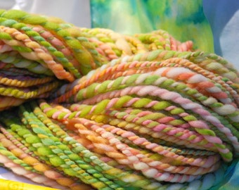 Hand Spun Yarn, Hand dyed wool, Chunky worsted, knitting, Crochet, weaving projects, Novelty yarn, soft Peach, Spring Green,  two ply yarn