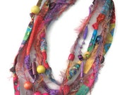 Boho Beaded Fiber Fabric Necklace Colorful necklace Summer Necklace