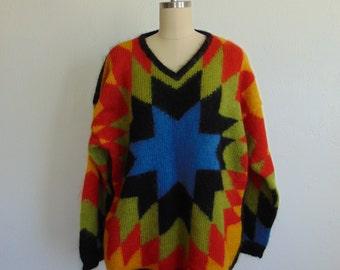 80s Kikit oversized SOUTHWESTERN mohair sweater size large