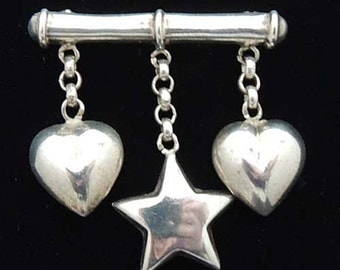 STERLING Silver Puffy Heart Bar Pin / Vintage Puffy Heart and Star Bar Pin / Puffy Heart Charm / Heart Jewelry /Sterling Charms /Heart Charm