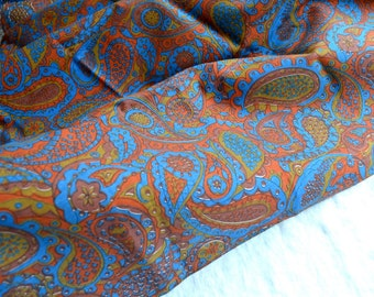 Vintage Fabric  - Blue and Red Rust Paisley Canvas - 45 x 56 Upholstery