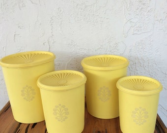4 Tupperware Sunny Yellow Canisters