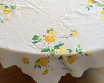 Sweet Wilendur Yellow Rose Tablecloth