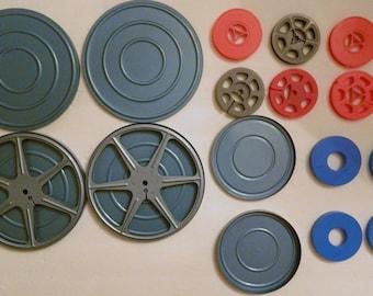 Vintage Metal and Plastic Movie Reels Spools Cases Repurpose Reuse Art