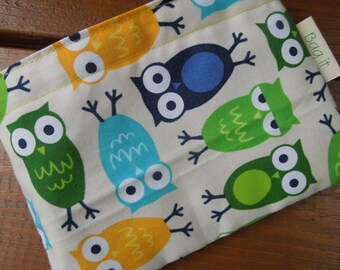 Reusable snack bag - Owls