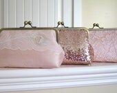 SALE, 10% Off Mis Matched Bridesmaid Clutches In Blush,Bridal Accessories,Wedding Clutch,Bridal Clutch,Bridesmaid gift,Personalized Clutches