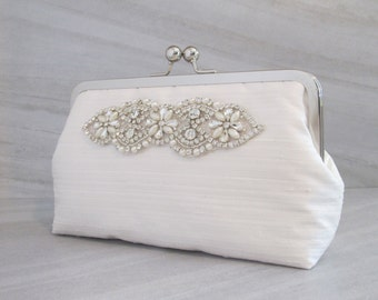 Classic Rhinestone And Pearl Silk Dupioni Clutch,Bridal Accessories,Ivory Wedding Clutch,Bridesmaid Clutch, Bride Purse