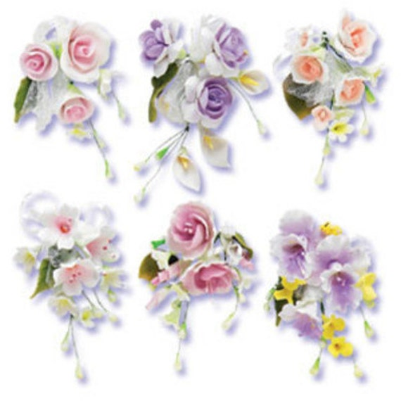 Assorted Gum Paste Flower Sprays For Weddings And Cake Decorating