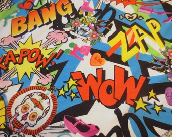 White Comic Book Spandex Fabric