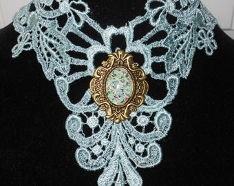 Large Choker One of a Kind Medievaltomodern's Large Teal Broach Scroll Venise lace Victorian Necklace