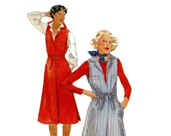 1970s Jumper Pattern Pullover Notched Collar Drawstring Waist Sleeveless Dress Butterick 5521 Bust 40 Vintage Sewing Pattern