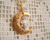 Snoopy Flying Ace Vintage Aviva Charm  Love you to the Moon and Back Necklace New charm with Vintage Aviva Snoopy