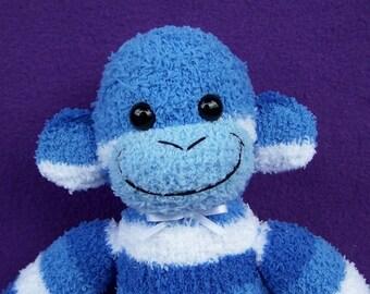 Blue Stripe Sock Monkey Doll Handmade Soft  Toy