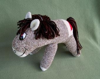 Red Heel Sock Pony Handmade Toy Horse