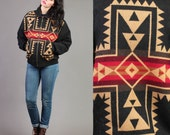 vintage PENDLETON blanket NATIVE american SOUTHWEST boho hippie jacket wool 1980s 80s small medium S M